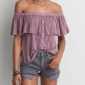 Soft & Sexy AEO Slub Off The Shoulder Shirt